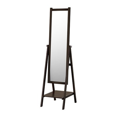 ISFJORDEN Floor mirror, black-brown stain